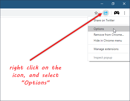 chrome extension change options